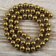 Hematit alapanyagszál, golyós, arany, 8 mm, kb. 40 cm