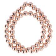 Hematit alapanyagszál, golyós, rosegold, 8 mm, kb. 40 cm