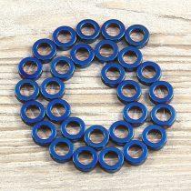 Hematit alapanyagszál, karika, kék, 14 mm, kb. 40 cm