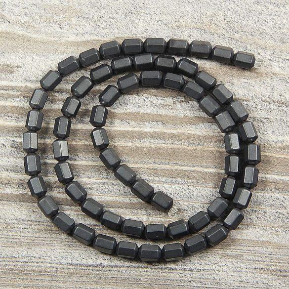 Hematit alapanyagszál, matt, hasáb, 4x6 mm, kb. 40 cm