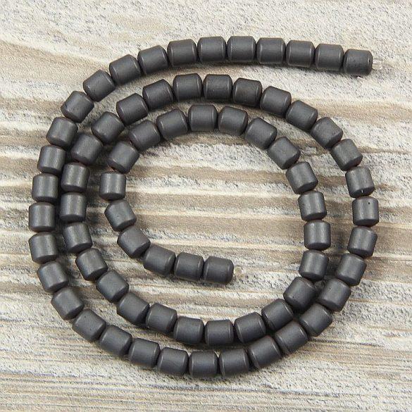 Hematit alapanyagszál, matt, hengeres, 5 mm, kb. 40 cm
