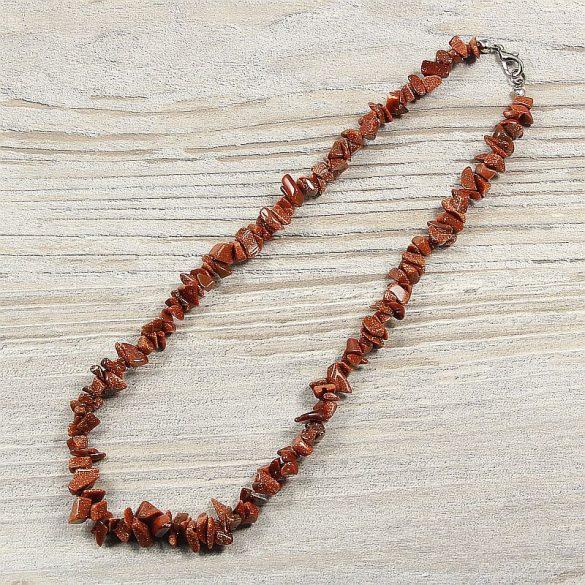Aranykő, barna, törmelékköves, 40 cm-es nyaklánc