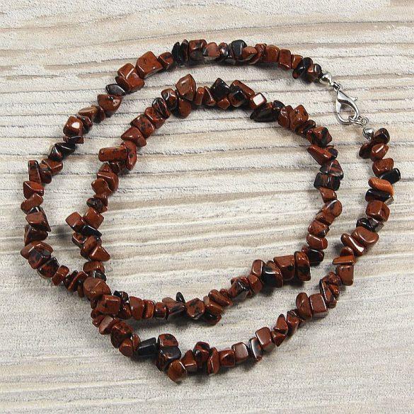 Mahagóni obszidián, törmelékköves, 50 cm-es nyaklánc