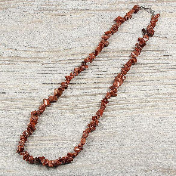 Aranykő, barna, törmelékköves, 50 cm-es nyaklánc