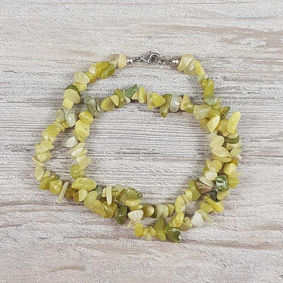 Olíva jáde, törmelékköves, 50 cm-es nyaklánc