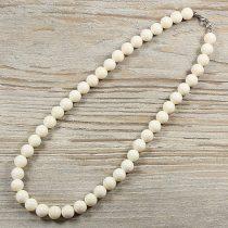 Bambuszkorall, golyós, fehér, 10 mm, 45 cm-es nyaklánc