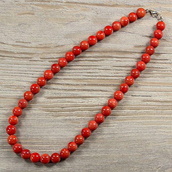 Bambuszkorall, golyós, piros, 10 mm, 45 cm-es nyaklánc