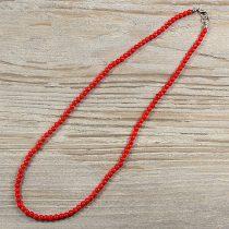 Bambuszkorall, golyós, piros, 4 mm, 45 cm-es nyaklánc