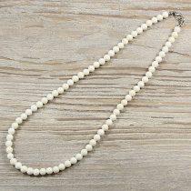 Bambuszkorall, golyós, fehér, 6 mm, 45 cm-es nyaklánc