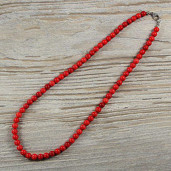 Bambuszkorall, golyós, piros, 6 mm, 45 cm-es nyaklánc