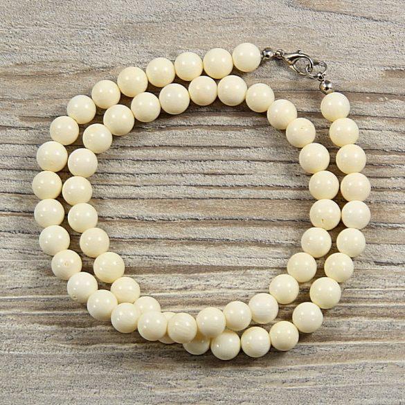 Bambuszkorall, golyós, fehér, 8 mm, 45 cm-es nyaklánc