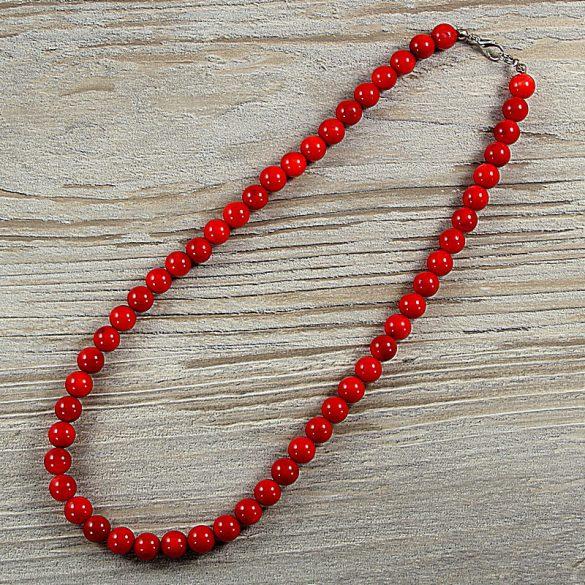 Bambuszkorall, golyós, piros, 8 mm, 45 cm-es nyaklánc