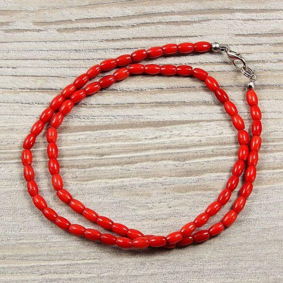 Bambuszkorall, rizsszemű, piros, 4x6 mm, 45 cm-es nyaklánc