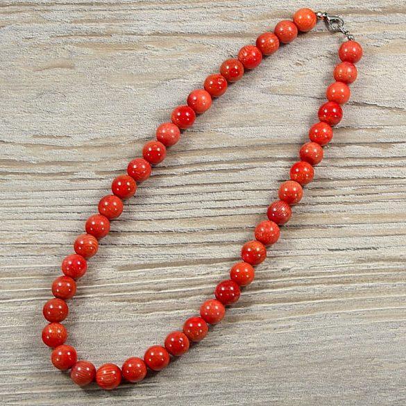 Bambuszkorall, golyós, piros, 10 mm, 40 cm-es nyaklánc