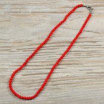 Bambuszkorall, golyós, piros, 4 mm, 40 cm-es nyaklánc