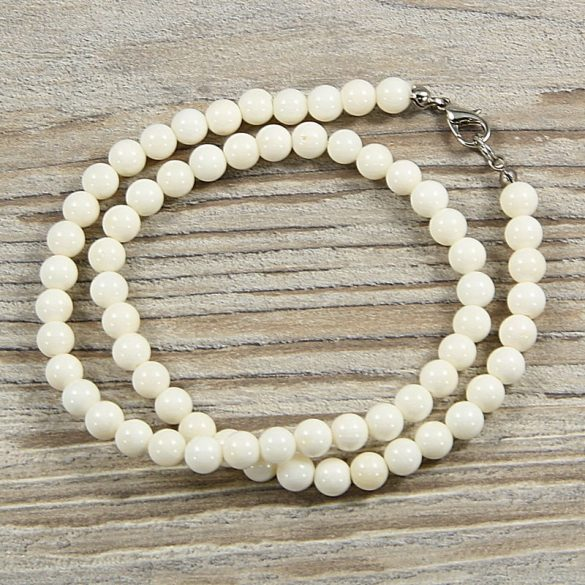 Bambuszkorall, golyós, fehér, 6 mm, 40 cm-es nyaklánc