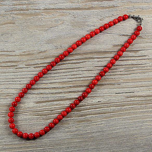 Bambuszkorall, golyós, piros, 6 mm, 40 cm-es nyaklánc