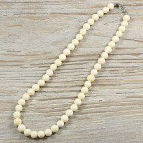 Bambuszkorall, golyós, fehér, 8 mm, 40 cm-es nyaklánc