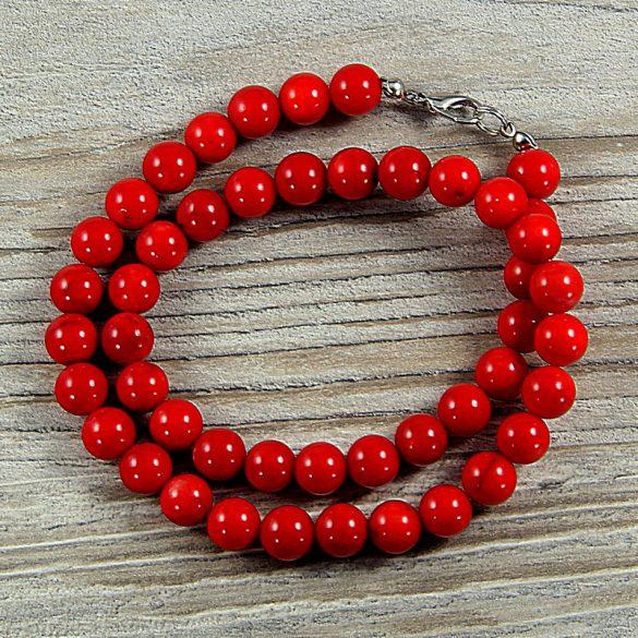 Bambuszkorall, golyós, piros, 8 mm, 40 cm-es nyaklánc