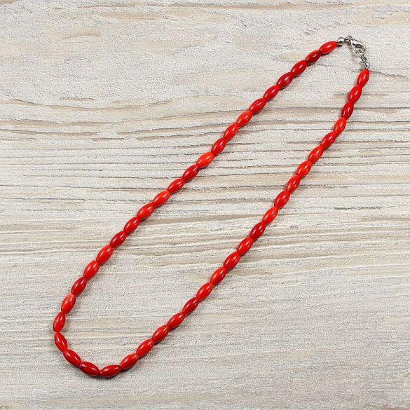 Bambuszkorall, rizsszemű, piros, 5x9 mm, 40 cm-es nyaklánc
