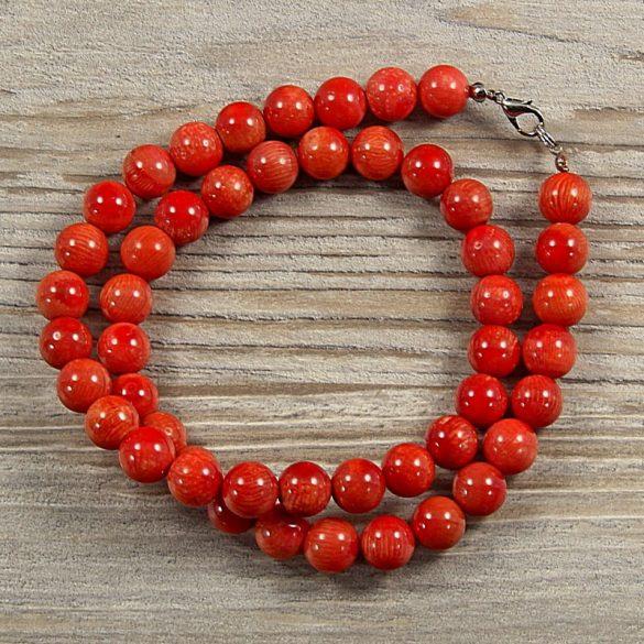 Bambuszkorall, golyós, piros, 10 mm, 50 cm-es nyaklánc