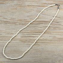 Bambuszkorall, golyós, fehér, 4 mm, 50 cm-es nyaklánc