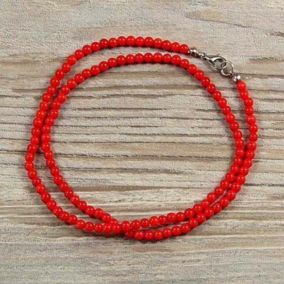 Bambuszkorall, golyós, piros, 4 mm, 50 cm-es nyaklánc