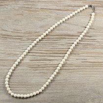 Bambuszkorall, golyós, fehér, 6 mm, 50 cm-es nyaklánc