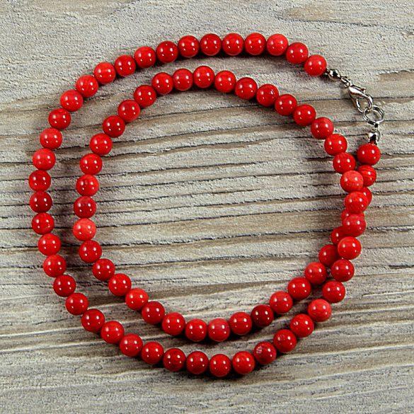Bambuszkorall, golyós, piros, 6 mm, 50 cm-es nyaklánc