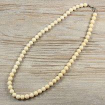 Bambuszkorall, golyós, fehér, 8 mm, 50 cm-es nyaklánc