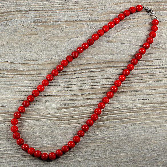 Bambuszkorall, golyós, piros, 8 mm, 50 cm-es nyaklánc