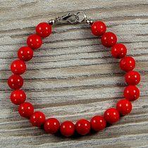 Bambuszkorall, golyós, piros, 8 mm, karkötő