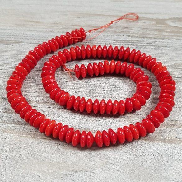 Bambuszkorall alapanyagszál, button, piros, 3x7 mm, kb. 40 cm