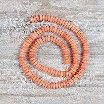 Bambuszkorall alapanyagszál, button, rózsaszín, 3x7 mm, kb. 40 cm