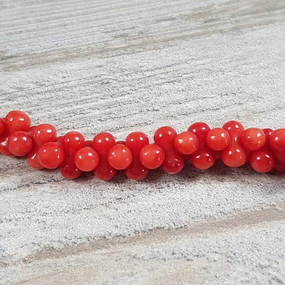 Bambuszkorall alapanyagszál, csontocska, piros, 4x8 mm, kb. 41 cm