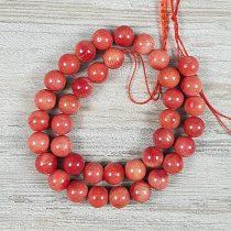 Bambuszkorall alapanyagszál, golyós, piros, 10 mm, kb. 40 cm