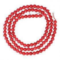 Bambuszkorall alapanyagszál, golyós, piros, 4 mm, kb. 40 cm