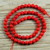 Bambuszkorall alapanyagszál, golyós, piros, 6 mm, kb. 40 cm
