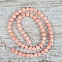 Bambuszkorall alapanyagszál, golyós, rózsaszín, 6 mm, kb. 40 cm