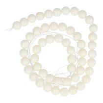 Bambuszkorall alapanyagszál, golyós, fehér, 8 mm, kb. 40 cm