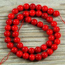 Bambuszkorall alapanyagszál, golyós, piros, 8 mm, kb. 40 cm