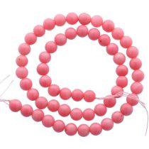Bambuszkorall alapanyagszál, golyós, rózsaszín, 8 mm, kb. 40 cm