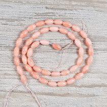 Bambuszkorall alapanyagszál, rizsszemű, rózsaszín, 5x9 mm, kb. 40 cm