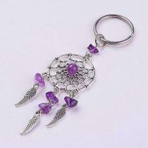 Nemesacél kulcstartó, álomfogó, ametiszt, kb. 10 cm
