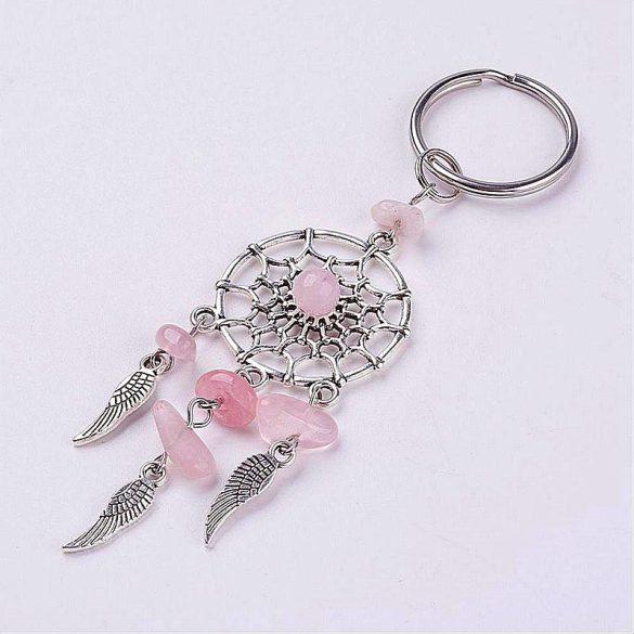 Nemesacél kulcstartó, álomfogó, rózsakvarc, kb. 10 cm