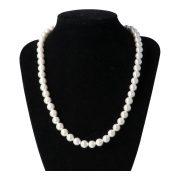 Shell Pearl, fehér, golyós, 8 mm, 45 cm-es nyaklánc