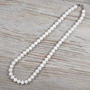Shell Pearl, fehér, matt, golyós, 8 mm, 45 cm-es nyaklánc
