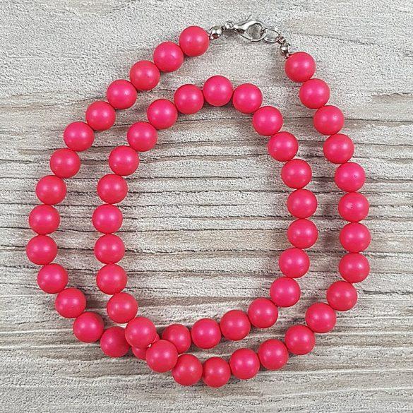Shell Pearl, pink, matt, golyós, 8 mm, 45 cm-es nyaklánc