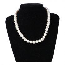 Shell Pearl, fehér, golyós, 8 mm, 40 cm-es nyaklánc