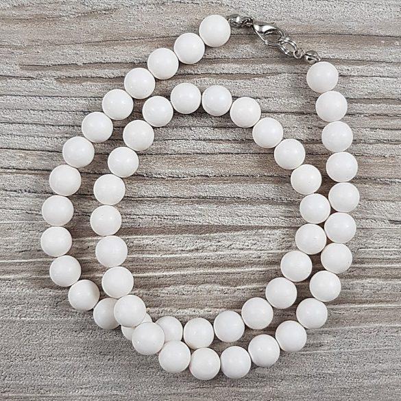 Shell Pearl, fehér, matt, golyós, 8 mm, 40 cm-es nyaklánc